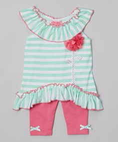 Another great find on #zulily! Mint Stripe Ruffle Yoke Tunic  Pink Leggings - Infant #zulilyfinds