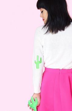 Aww Sam for Brit + Co: How to Add Fun Cactus Elbow Patches to Your Sweaters Plus Clothing, Clothing Hacks, Patch Design, Pinterest Fashion, Clothes Crafts, Elbow Patches, Christmas Sweaters, Fall Sweaters, Refashion