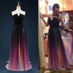 New Arrival Long Gradient Color Chiffon Prom Dresses