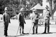 GENERAL KITCHENER AND THE ANGLO-EGYPTIAN NILE CAMPAIGN, 1898 Officers of the Lancashire Fusiliers in the barrack square at Kasr el Nil Barracks in Cairo. They are wearing red roses on their pith helmets to commemorate the defeat of the French at Minden on August 1st 1759.