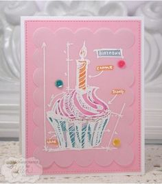 Project and technique cupcake card using vellum paper