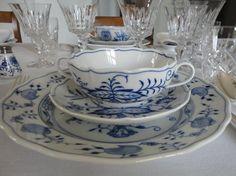 Blue & White Tablescape with Meissen Onion