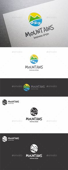 Mountains Logo – Nature Theme Logo Template. Mountains, River and Sun.  adventure, attractive, camp, childrens, climb, custom logo, drawing, friendly, hill, identity, illustrative, kindergarten logo, landscape, mountain logo, mountains logo, nature logo, outdoor, peak logo, playful, professional, river, scene, sport, sun, tourism, toys, travel logo, vacation, valley, website logo