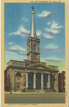"""Postcard-Linen-C-T-Art-Colortone - """"Old Cathedral, St. Loius"""""""