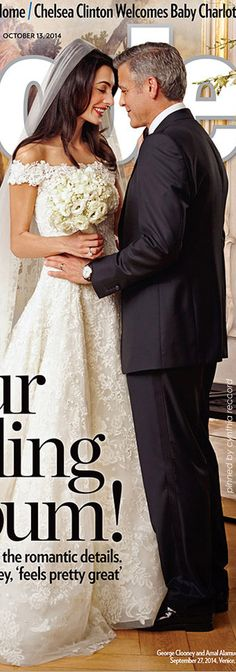 Amal Alamuddin in the custom De la Renta gown she wore for her wedding to George Clooney.