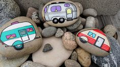 I know a few friends who would love these Travel Trailer Vintage Campers Hand Painted River Rocks Pebble Painting, Pebble Art, Stone Painting, Painting Art, Paintings, Rock Crafts, Crafts To Make, Arts And Crafts, Vintage Trailers