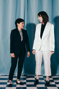 Exclusive suiting in a wide range of silhouettes from tuxedo to double breasted, from slim cigarette pant to wide leg trousers. Time to get suited. White Suits, Wedding Crashers, Androgynous Fashion, Lesbian Wedding, Wedding Suits, Classic Looks, Black Tie, Suits For Women, Bridal Style