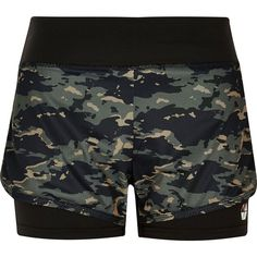 River Island RI Active camo gym shorts ($15) ❤ liked on Polyvore featuring activewear, activewear shorts, shorts and river island