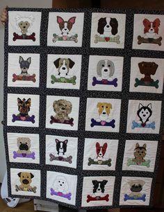 Dog applique quilt.    Dog quilt.