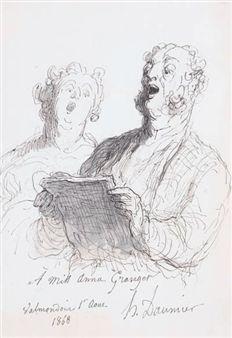 Deux chanteurs By Honoré Daumier