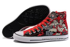 95a05fea862c2 Converse Chuck Taylor All Star DC Comics Red Superman Superhero Print High  Tops Canvas Shoes Online