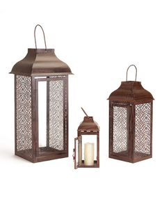 Take a look at this Brown Lantern Set by Autumn Beauty: Home Accents on #zulily today!