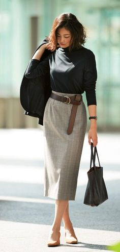 Choose to function Design, one designer piece of looks. Long Skirt Fashion, Modest Fashion, Mode Outfits, Fashion Outfits, Womens Fashion, Professional Attire, Business Fashion, Business Attire, Mode Style