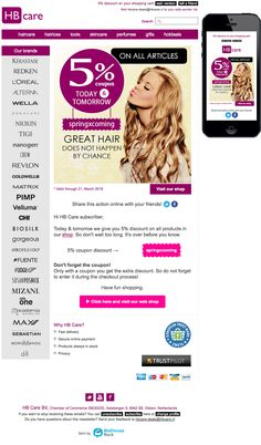 Great hair doesn't happen by chance: now 5% extra discount! Sent on March 20, 2016. Email newsletter template.