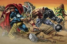 Thor vs Absorbing Man by Mike Deodato Jr,Colors:Alexander Palomaro