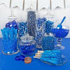Shop Light Blue Premium Candy Buffet for sale online from Just Candy. Sweet 16 Decorations, Quince Decorations, Hanukkah Decorations, Blue Birthday, Sweet 16 Birthday, Blue Candy Buffet, Candy Buffet Tables, Buffet Dessert, Bar A Bonbon