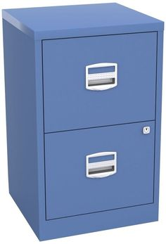 Metal Filing Cabinet Blue 2 Drawers Office Storage Locking Organizer  Furniture