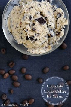 Are you a coffee lover? Do you dream about it like me? If so, this coffee ice cream is right up your alley! Chocolate Chunk Coffee Ice Cream | www.weknowstuff.us.com | We Know Stuff