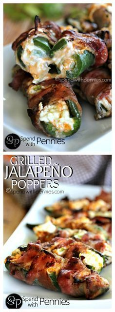 Grilled Jalapeno Poppers! Delicious fresh jalapenos filled with a gooey cheesy filling and wrapped in bacon! Amazing!!