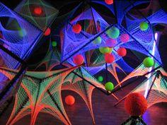 LSDreams team psydeco psychedelic festival decor #strings fluoro