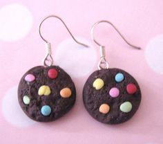 Faux Chocolate Candy Cookie Fimo Earrings  Kitsch Kawaii by Dreamy, £3.75