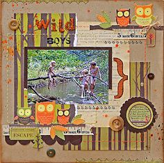 Kaisercraft Tiny Woods collection Kids Scrapbook, Scrapbook Page Layouts, Scrapbook Pages, Wood Crafts, Paper Crafts, Daylight Savings Time, Candy Cards, Kids Wood, Making Memories
