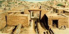 Another view of an Indus Valley city, probably Mohenjo Daro, ca. 2600 BC. The Indus Valley Civilization laid much of the groundwork for what would become Indian culture including the beginnings of yoga; statues of men in yogic asanas have been found.