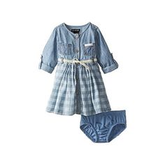 Calvin Klein Baby Girls Denim Dress with Roll Up Sleeves Blue 12 Months ** Want to know more, click on the image. (This is an affiliate link) #BabyGirlDresses