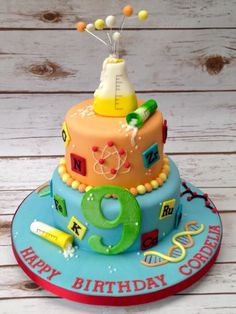 Science Cake - not sure if we'd eat it given the amount of unmarked chemical spillage but it does look delicious!