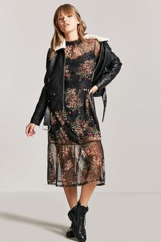 Floral High Neck Midi Dress - Women - 2000216370 - Forever 21 EU English