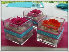 Gerbera Daisy Centerpieces (picture these in yellow with clear glass stones...)