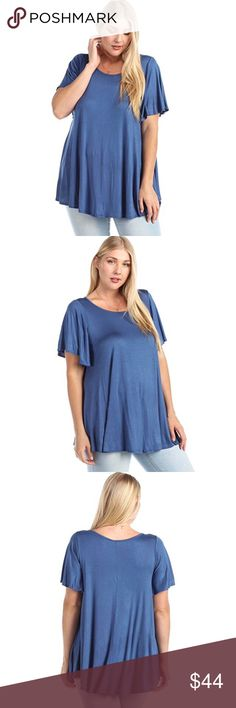 Flirty Short Flutter Sleeve High Low Drapey Tee Flattering short flutter sleeves, a loose, comfortable, drapey fit, and an ultra soft fabric you'll want to live in! Dress it up or down, this tee will be your favorite paired with heels and a blazer for work or sandals and a skirt for the beach. This is also the best #momlife top ever with leggings and flats!  Available in XL/1X and XXL/2X 96% rayon 4% spandex  ❌ Sorry, no trades. fairlygirly Tops Tees - Short Sleeve