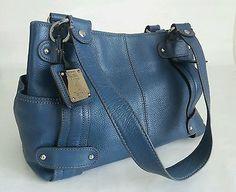 TIGNANELLO Perfect 10 Shoulder Bag Studded Blue Genuine Leather Handbag