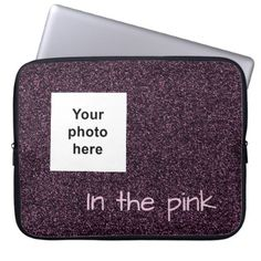 Custom photo and text dark pink faux glitter laptop sleeve - faux gifts style sample design cyo