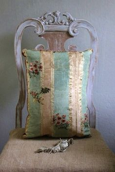 """Vintage, Shabby, French - Fanciful Designs Oooh, shabby-vintage-french- love it all. """"Love the look of a beautiful century French silk pillow against the rough, hand loomed l Silk Pillow, Chair Pillow, Chair Cushions, French Decor, Soft Furnishings, Decoration, Painted Furniture, Furniture Design, Distressed Furniture"""