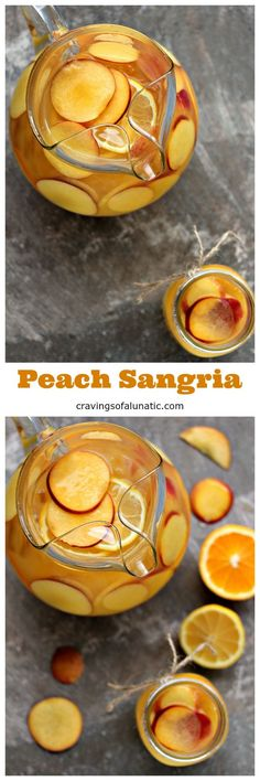 Peach Sangria from cravingsofalunatic.com. This easy recipe for Peach Sangria is sure to be a hit with your family and friends. Celebrate in stylewith this tasty mix of peach, orange, lemon and wine. #peach #sangria #cocktail #summer #ad