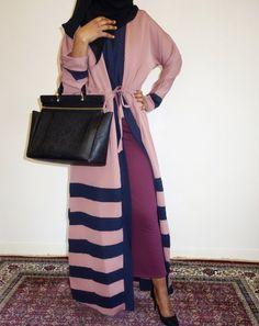 Mocha with Black Stripes Open Abaya | Amal clothing abaya thobe khaleeji hijab jilbab niqaab jewellery
