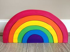 Wooden sustainable rainbow stacker