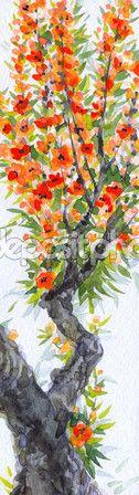 fundo aquarela. flores vermelhas brilhantes e exuberante folhagem na primavera florescendo de uma velha árvore