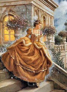 Cinderella illustration by Ruth Sanderson Cinderella Art, Victorian Paintings, Classic Fairy Tales, Fairytale Art, Children's Book Illustration, Book Illustrations, Botanical Illustration, Vintage Images, Illustrators