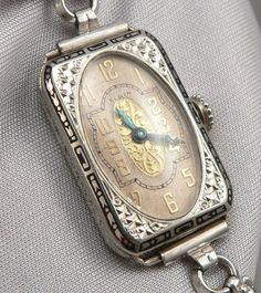 Antique ART DECO White 14K Solid GOLD & ENAMEL ELGIN Ladies WRISTWATCH WATCH 15J