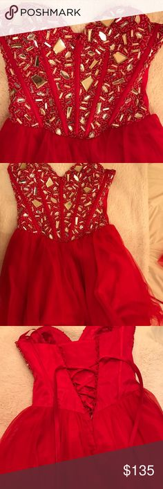 PRICE DROP!  Hello! I'm selling this beautiful red princess dress that can be worn to school dances, weddings or any fancy occasion! I loved this dress the one time I wore it! It is a size four and has a beautiful corset in the back. Not a single rhinestone missing. It is in perfect condition and I hope you like it too! Let me know if you have questions! Mahalo dress district  Dresses Prom