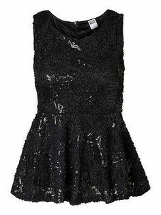 LANA  PEPLUM S/L TOP VERO MODA #veromoda #peplumtop #sequins #party #fashion @Veronica MODA