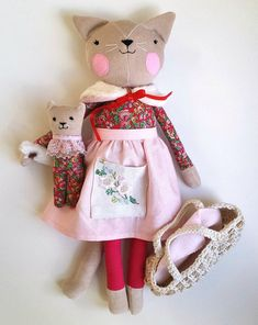 Heirloom Cat Doll with Kitten Rag Doll Cat Stuffed Cloth Cat