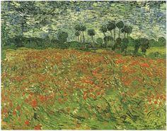 Field with Poppies - Vincent van Gogh . Created in Auvers-sur-Oise, France in June, Located at Gemeentemuseum Den Haag Vincent Van Gogh, Champs, Van Gogh Arte, Van Gogh Landscapes, Oil On Canvas, Canvas Prints, Van Gogh Paintings, Piet Mondrian, Dutch Artists