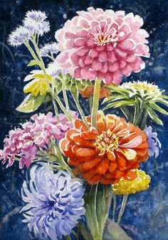 Flower Still Life Original Watercolor Painting  by HeartsEase2,