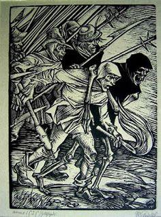 Rudolf Schiestl, Peasant Warrior and Death, 1525 c. Medieval Art, Renaissance Art, Ink Illustrations, Illustration Art, Totenkopf Tattoo, Woodcut Art, Dance Of Death, Landsknecht, Art Of Man