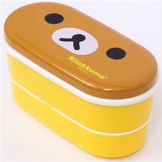 gelbe Rilakkuma Bär Bento Box mit braunem Bärengesicht 1