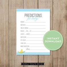 Printable Baby Shower Bookplate by PurpleTomatoDesign. Printable Baby Prediction Card. Baby Shower game. Gender Prediction game. Gender Neutral. Instant Download. Blue Baby Shower. Boy Baby Shower. Baby Book. $4.75