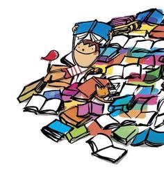 Vacaciones!!!! Tiempo para leer. Una montaña de libros nos espera (ilustración de Joan Turu) My Maria, Doodle Icon, Turu, Book People, Cute Doodles, Conte, Love Reading, Love Book, Illustration
